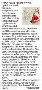 Fiona Pears album review of Feelings in Christchurch Press